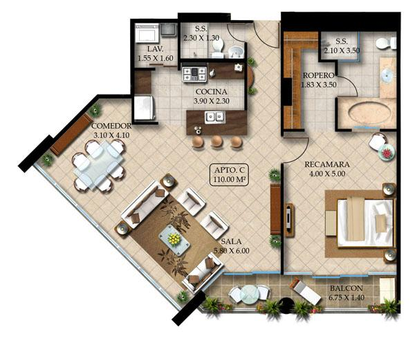 1 Bedroom Apartments 2 Bathroom 4 Person 110 Sq Meters